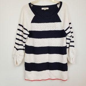 LOFT striped blue/cream tunic sweater top size L